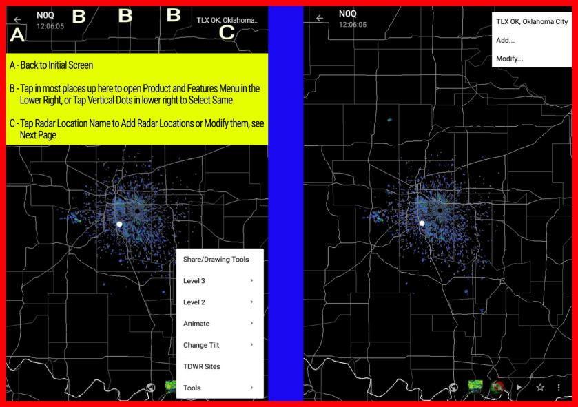 Main Radar Screen More Selections