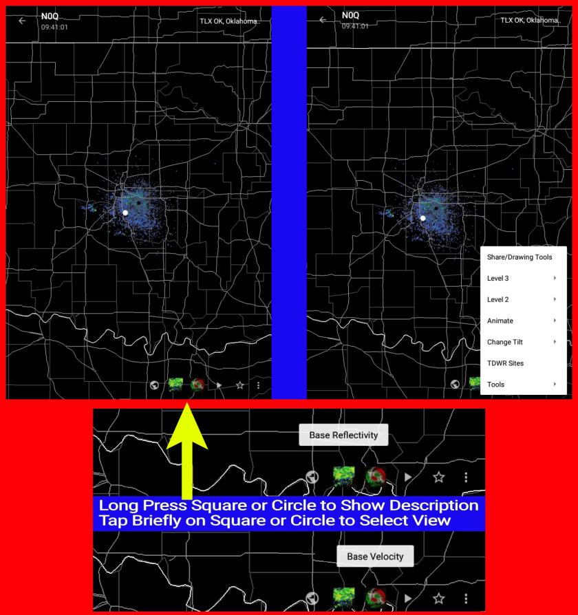 Main Radar Screen Selections