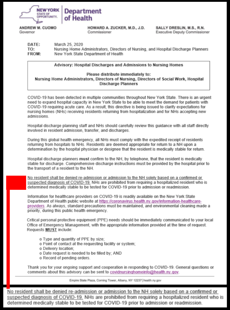 NY Nursing Home Requirement