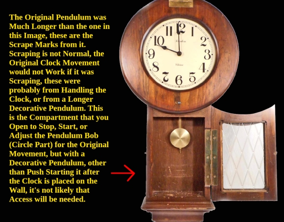 Clock Style Front View Pendulant Compartment Open